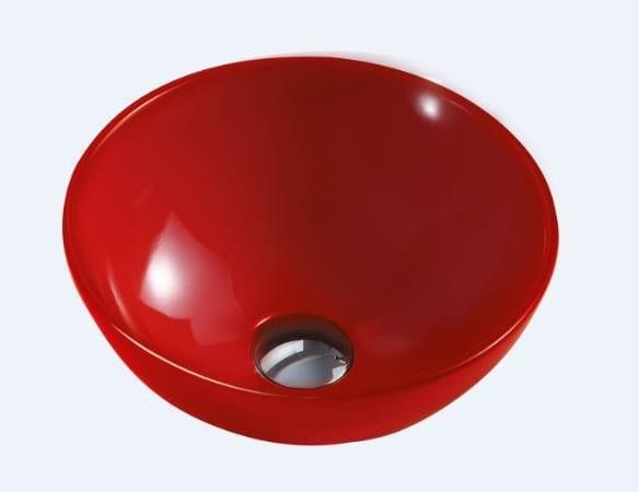 כיור חרס אמבטיה מונח עגול – אדום