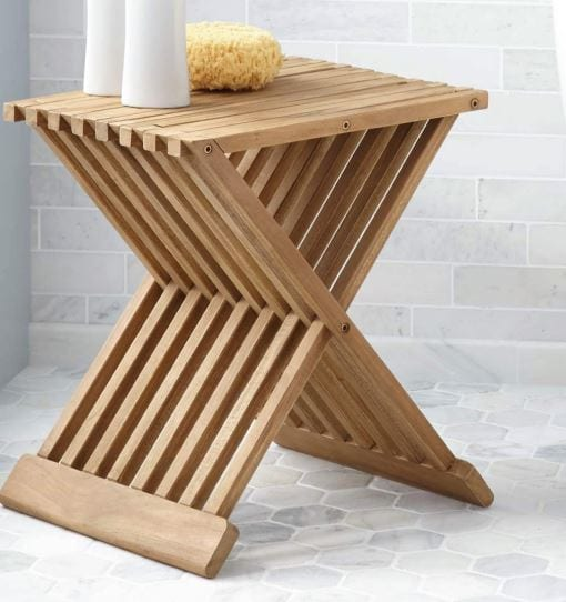 ספסל למקלחת 40 ס״מ מתקפל עץ טיק מלא